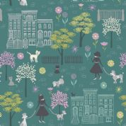 Lewis & Irene - Poodle & Doodle - 6360 - Dog Walking Scene on Teal - A360.1 - Cotton Fabric